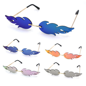 Unique Hot Rod Flame Shape Mirror Lens Cat Eye Funky Sunglasses