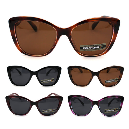 Polarized Womens Classic 90s Large Cat Eye Plastic Fashion Sunglasses