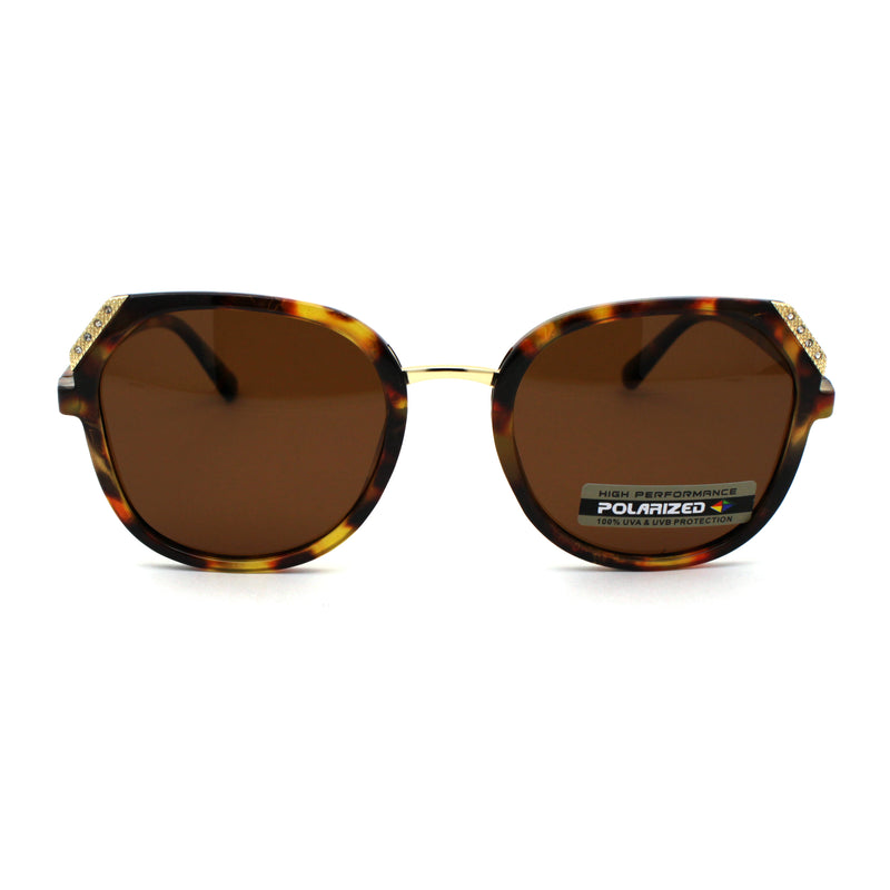 Rhinestone Accent Premium Polarized Lens Butterfly Fashion Plastic Sunglasses