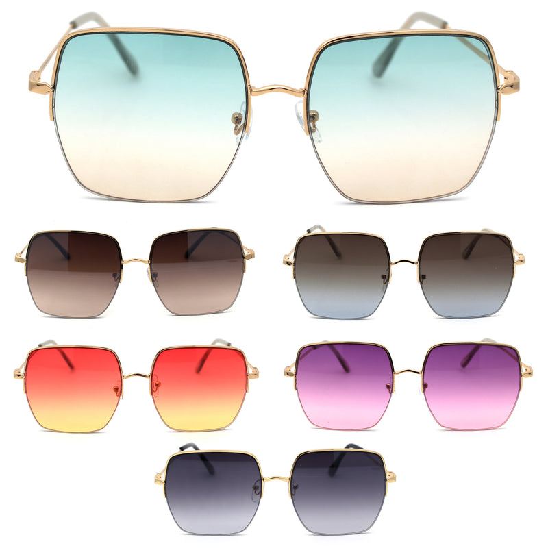 Womens Chic Oversize Metal Half Rim Rectangle Butterfly Sunglasses