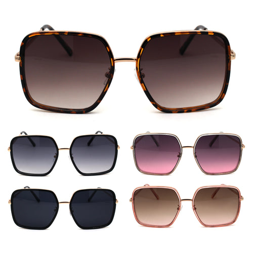 Womens Chic Oversize Double Rim Rectangle Butterfly Sunglasses