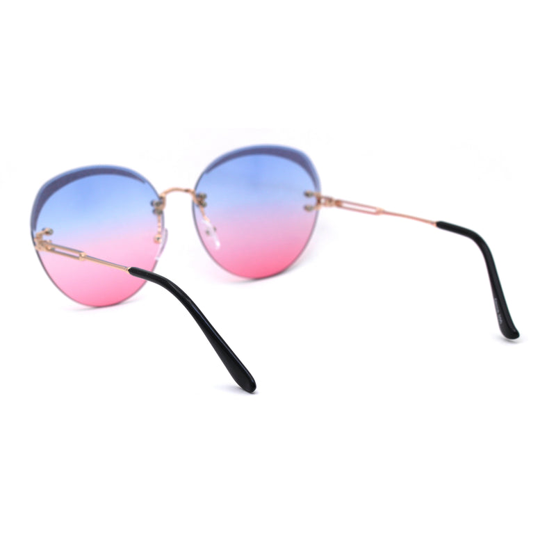 Womens Glitter Eyebrow Round Rimless Fashion Sunglasses