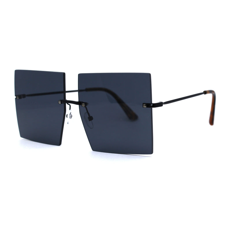 Womens Unique Rimless Squared Rectangular Funky Fashion Sunglasses