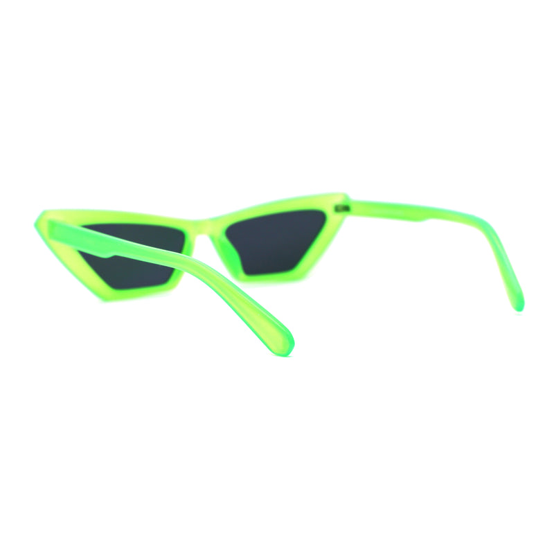 Womens Neon Pop Color 80s Squared Cat Eye Sunglasses