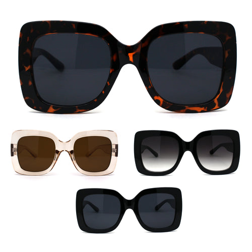 Womens Mod Thick Plastic Rectangle Butterfly Sunglasses