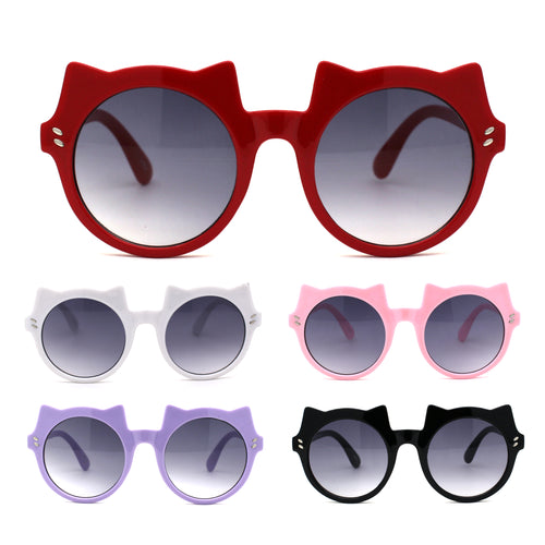 Girls Kids Size Kitty Cat Ear Round Plastic Circle Sunglasses