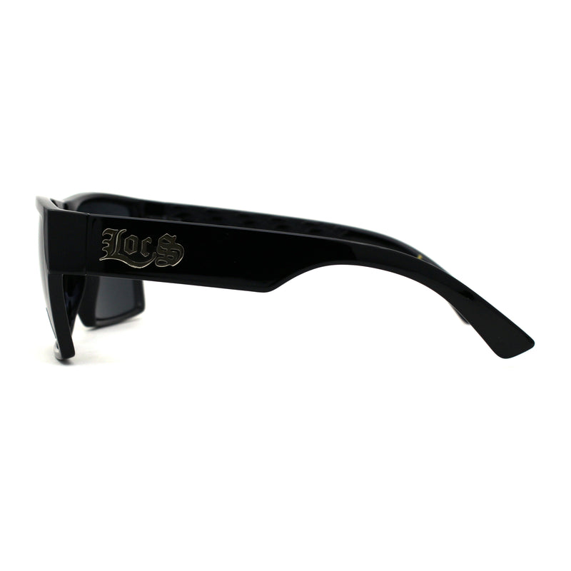 Locs Squared Rectangular Cholo Gangster All Black Sunglasses