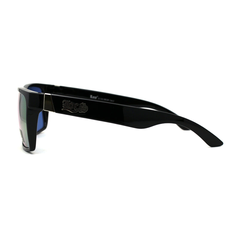 Locs Colored Reflective Black Rectangular Gangster Hardcore Sunglasses