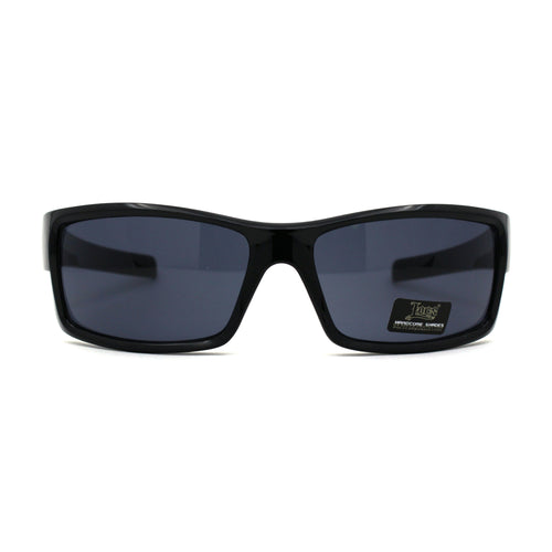 Mens Locs Warp Biker Gangster Rectangular All Black Sunglasses