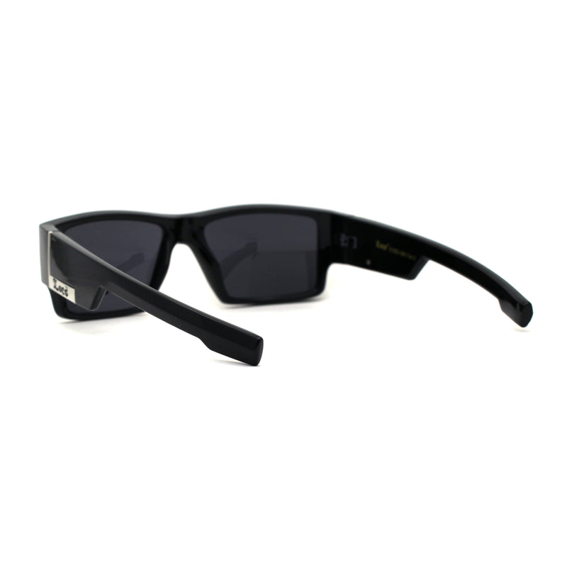 All Black 90s Mens Locs Thick Temple Squared Rectangular Cholo Sunglasses