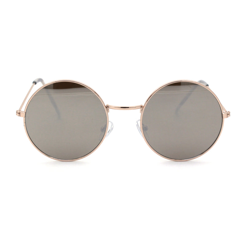 Round Circle Lens Metal Rim Silver Mirror Hippie Sunglasses