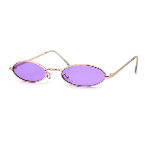 Pimpy Color Lens Extra Small Oval Metal Rim Hippie Sunglasses