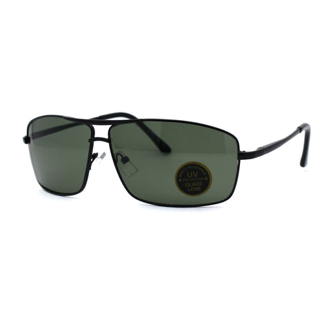 Mens Glass Lens Narrow Rectangular Sport Airmans Metal Spring Hinge Sunglasses