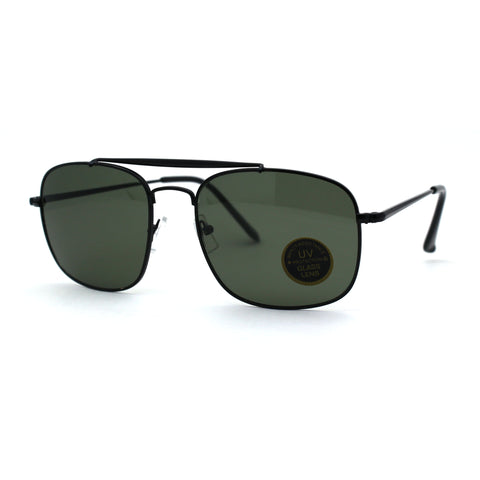 Mens Glass Lens Top Bridge Rectangle Sport Airmans Metal Rim Sunglasses