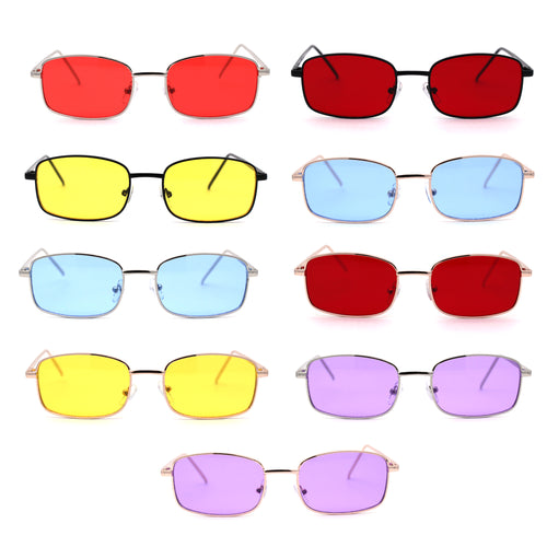 Hippie Pimp Color Lens Vintage Rectangle Metal Rim Sunglasses