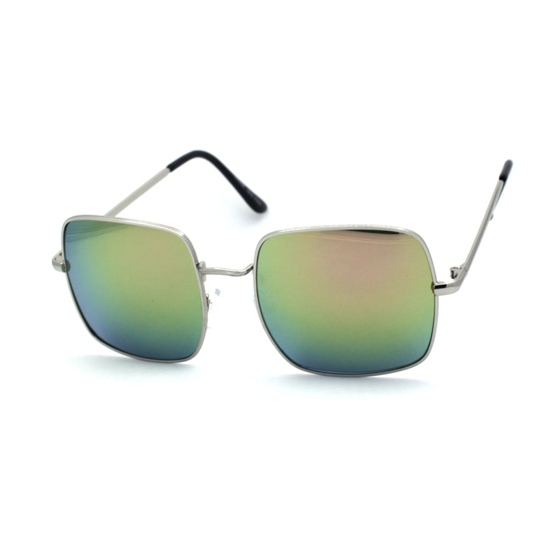 Funky Pimpy Hippie Square Color Mirror Lens Metal Rim Sunglasses