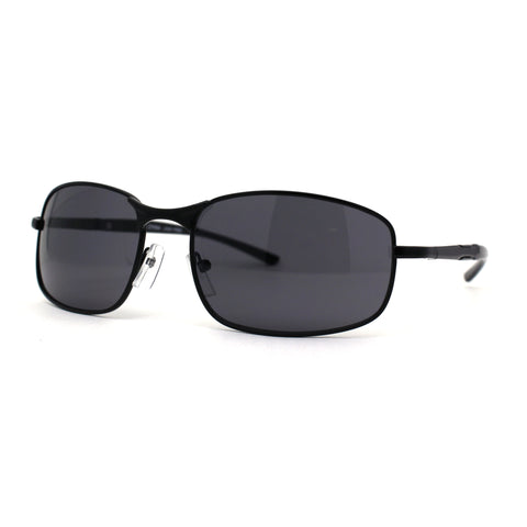Mens Rectangle 90s Sport Metal Rim Spring Hinge Sunglasses