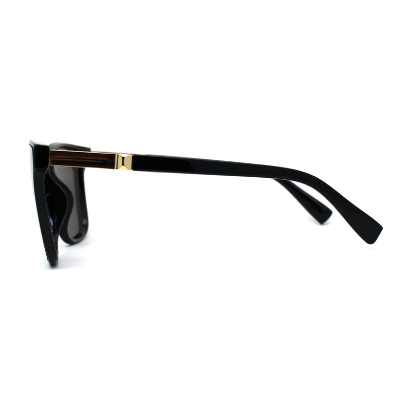Womens Inset Panel Lens Trendy Horn Rim Retro Fashion Sunglasses