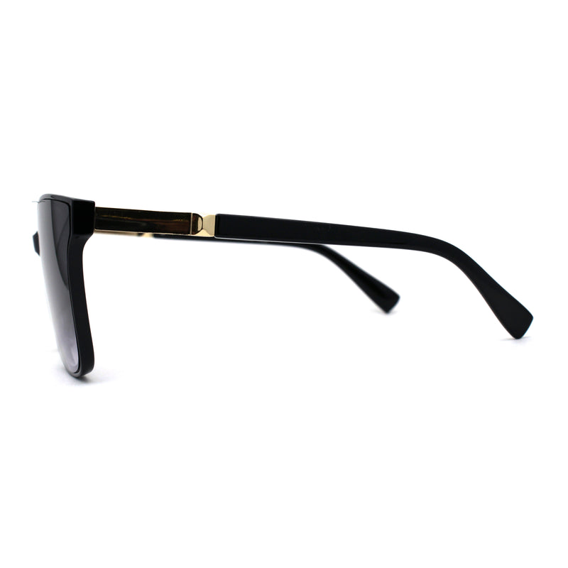 Womens Classic 90s Fashion Horn Rim Rectangular Plastic Sunglasses