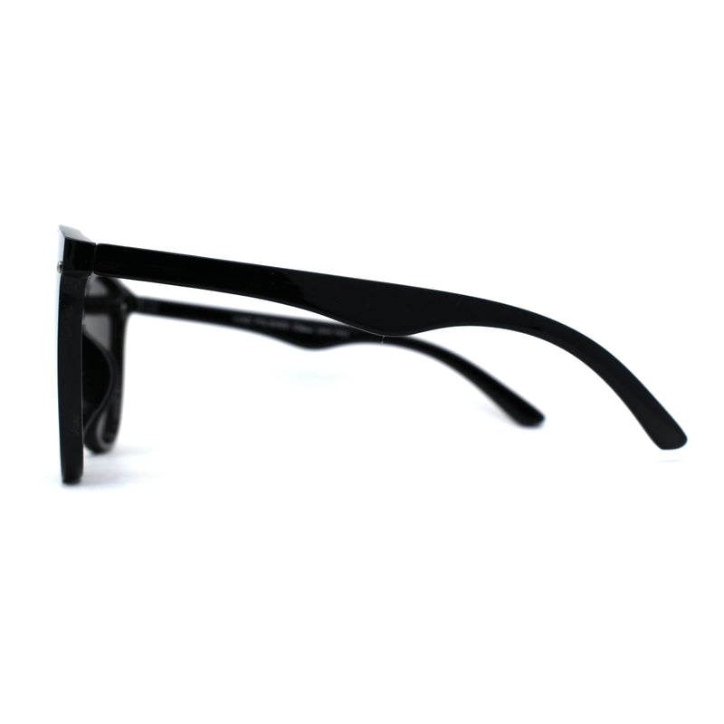 Womens Round Shield Panel Lens Horn Rim Plastic Sunglasses