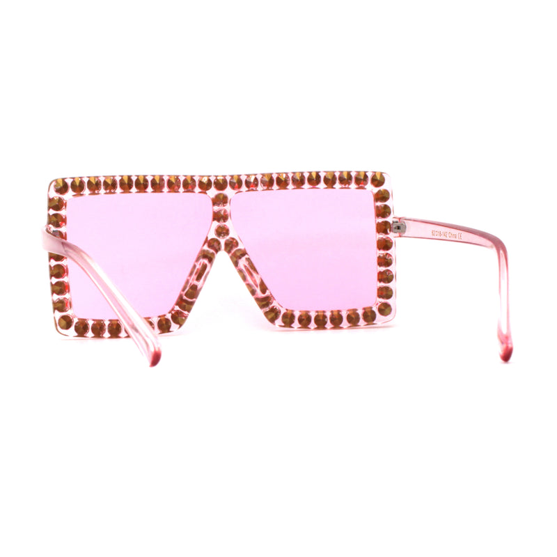 Rhinestone Rock and Roll Bling Oversize Flat Top Plastic Sunglasses