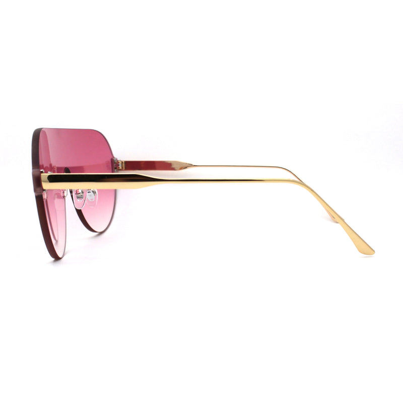 Minimalist Shield Rimless Racer Retro Sunglasses
