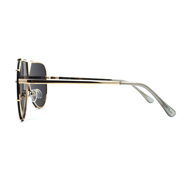 Mirrored Lens Minimalist Shield Rimless Racer Retro Sunglasses