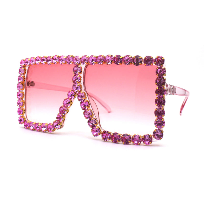 Large Gem Rhinestone Jewel Oversize Mob Sunglasses