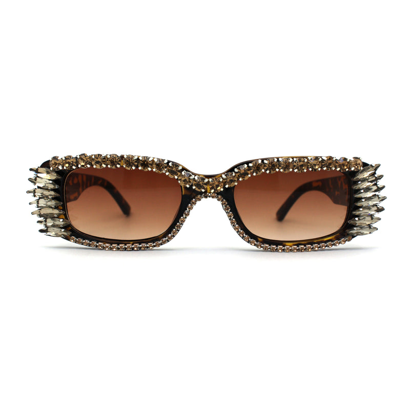 Womens Luxury Large Gem Rhinestone Jewel Narrow Rectangular Sunglasses