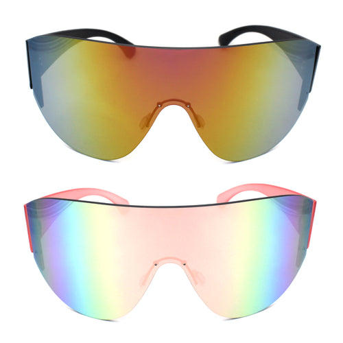 XL Oversize Mirrored Lens Shield Rimless Sunglasses