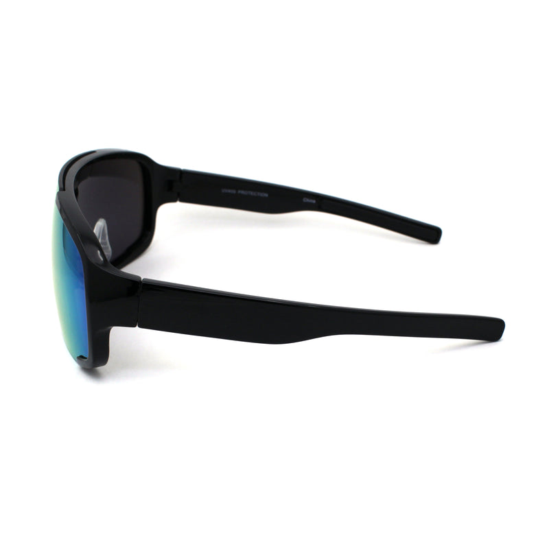 Mens Exposed Mirrored Lens Racer Shield Plastic Sport Sunglasses