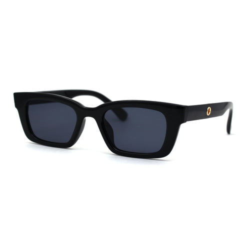 Retro Narrow Rectangular Horn Plastic Neck Chain Sunglasses Tortoise Black