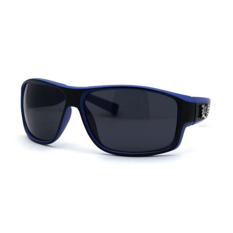 Locs Mens 2-tone Warp Around Biker Style Plastic Sunglasses