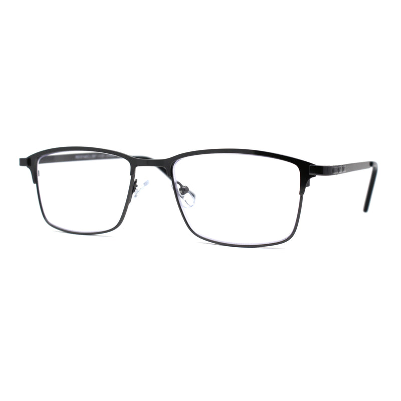 Mens 90s Designer Thin Metal Rim Rectangular Reading Glasses