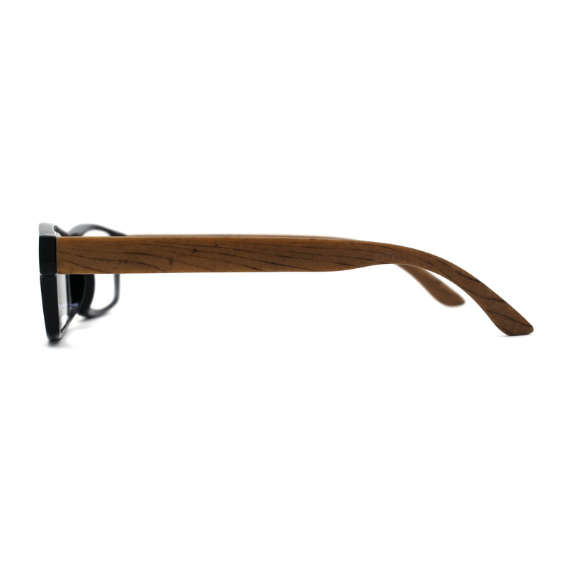 Mens Classic Rectangle Wood Grain Spring Hinge Arm Plastic Reading Glasses