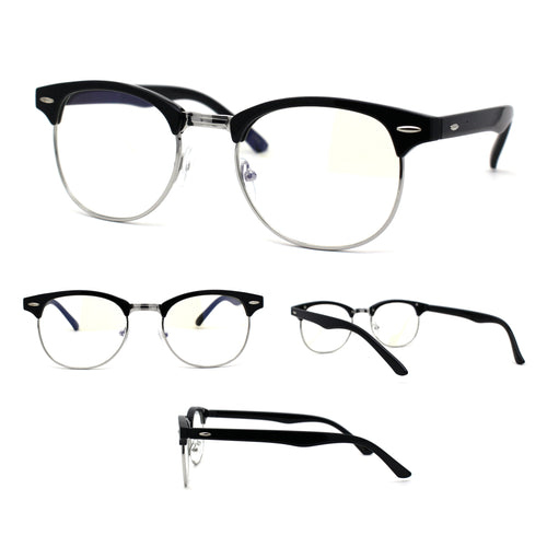 Black Silver Hipster Half Horn Rim Blue Light Blocking Computer Eyeglasses