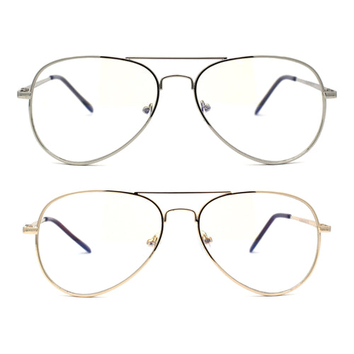 Mens Classic Pilots Metal Rim Spring Hinge Blue Light Blocking Computer Glasses
