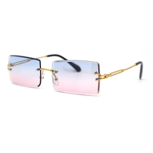 Luxury Hippie Style Rimless Bevel Rectangle Lens Sunglasses