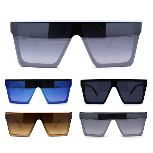 Half Rim Style Flat Top Squared Rectangular Retro Fashion Sunglasses