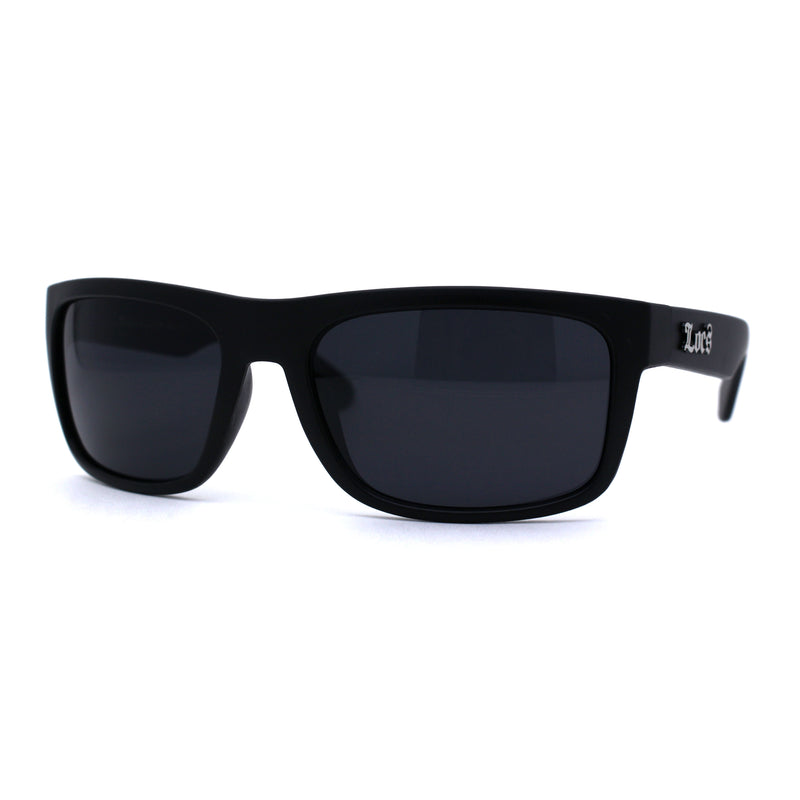 Locs Classic Manly All Black Gangster Sport Rectangular Sunglasses