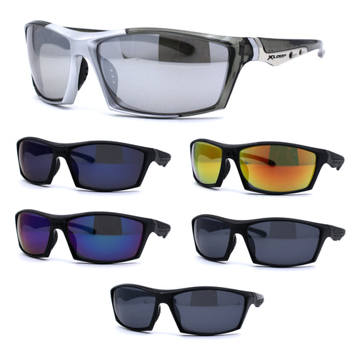 Xloop Classic 90s Plastic Mirrored Rectangular Sport Runners Sunglasses