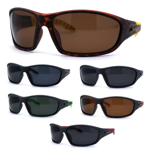 Polarized Mens 90s Oval Warp Around Plastic Sport Sunglasses