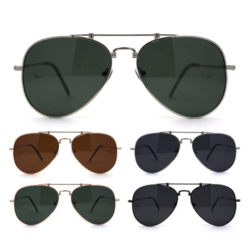 Polarized No Glare Mens Luxury Officer Style Metal Rim Sunglasses