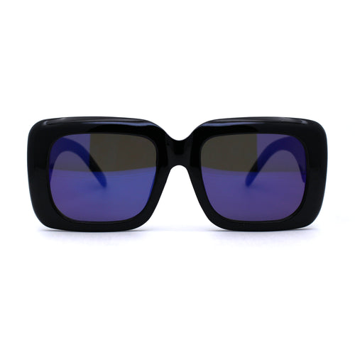 Womens Mod Thick Plastic Rectangular Designer Sunglasses