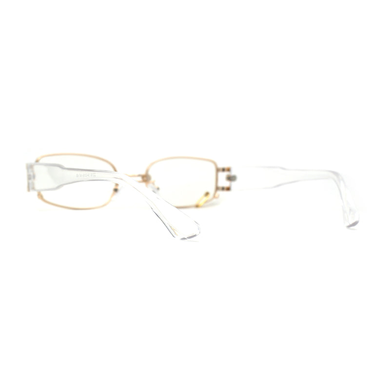 Pierced Loop Ring Lens 90s Retro Fashion Blue Light Filter Gold Clear Computer Glasses