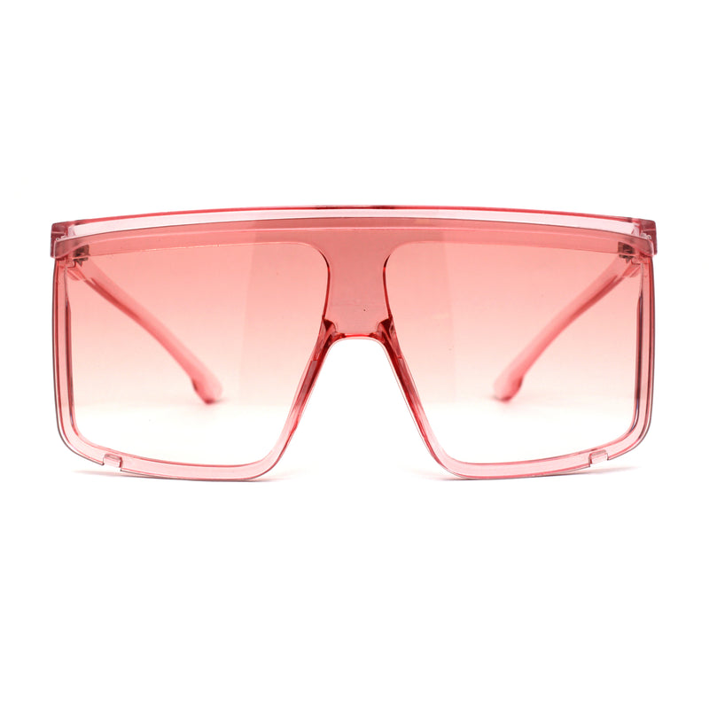 Pop Color Flat Top Mob Shield Exposed Lens Large Sunglasses