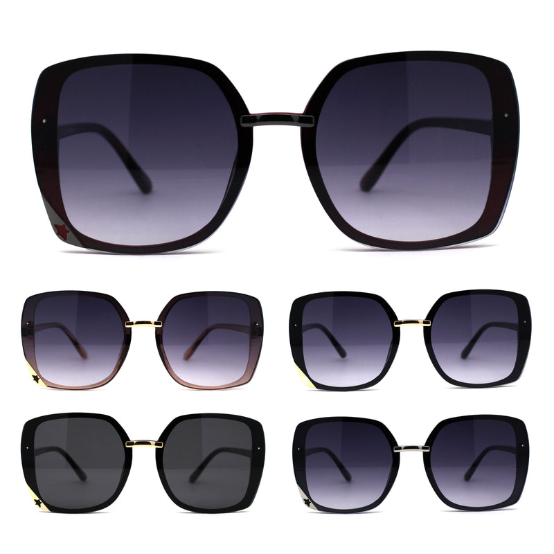 Womens Star Die Cut Trim Rectangle Butterfly Sunglasses
