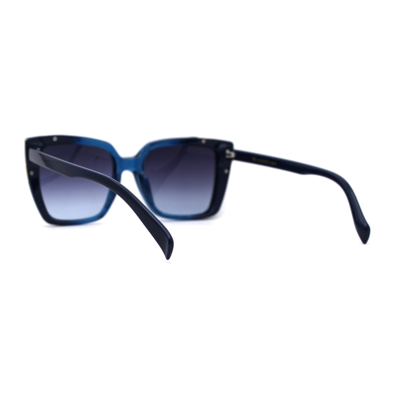 Womens Squared Rectangle Large Cat Eye Chic Plastic Sunglasses