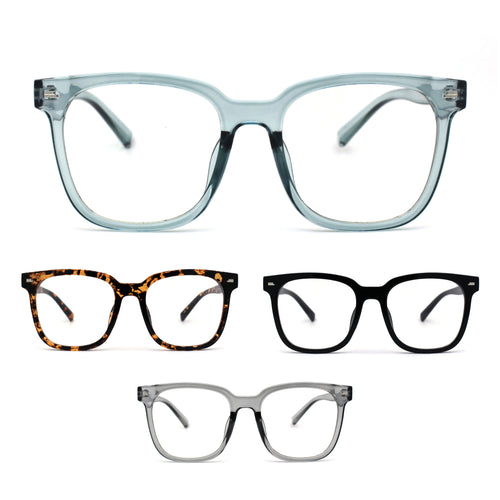 Unisex Hipster Rectangle Horn Rim Blue Light Filtering Computer Glasses