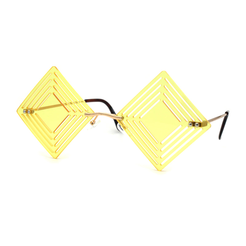 Pop Color Hypnotist Diamond Kite Die Cut Hippie Square Sunglasses